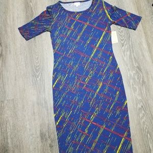 Blue dress with Neon Yellow and Red NEW XS Julia